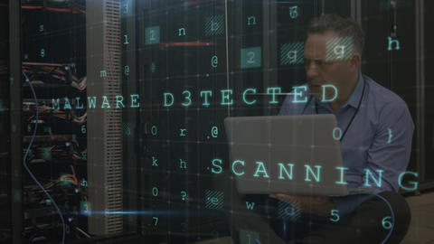 Stressed man working in server room with moving data security messages Animation