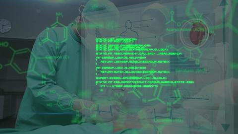 Surgeons operating with green data in foreground Animation