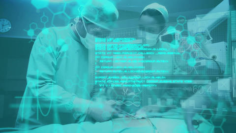 Surgeons operating with blue data in foreground Animation