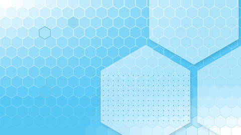 Blue and white hexagons on blue background Animation