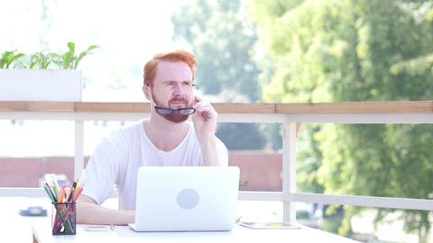Tense, Stressed, Frustrated Man Sitting in Balcony of Office, Outdoor Footage