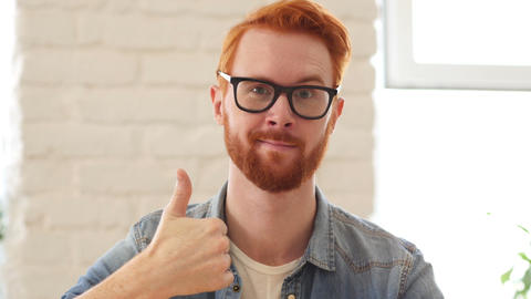 Reaction of Success, Thumbs Up, Appreciating Man with Beard and Red Hairs Footage
