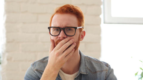 Reaction of Loss, Failure, Unsatisfied Man with Beard and Red Hairs, Portrait Footage