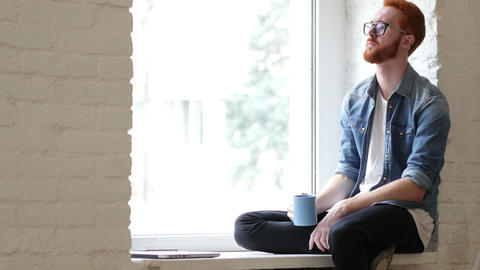 Pensive Man Drinking Coffee, Tea, Sitting Relax in Window Footage