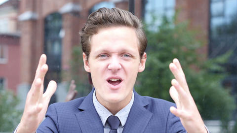 Screaming Aggressive Angry Young Businessman Footage