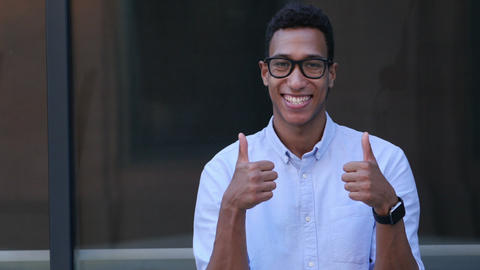 Gesture of Satisfaction, Thumbs Up by Young Black Handsome Man Footage