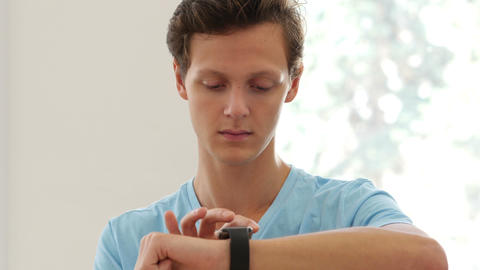 Man Using Smartwatch Applications Footage