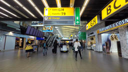 Time lapse - Schiphol airport, departures terminal main hall with travelers pass Footage