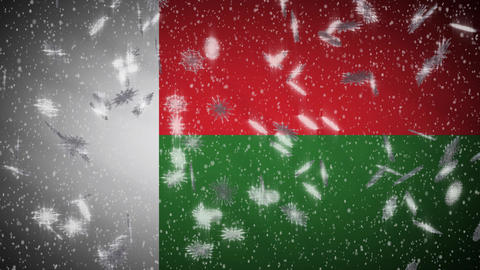 Madagascar flag falling snow loopable, New Year and Christmas background, loop Animation