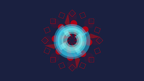 spinning blue wheel with red shapes on black Animation