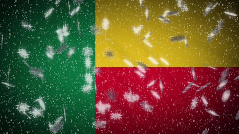 Benin flag falling snow loopable, New Year and Christmas background, loop Animation