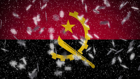 Angola flag falling snow loopable, New Year and Christmas background, loop Animation