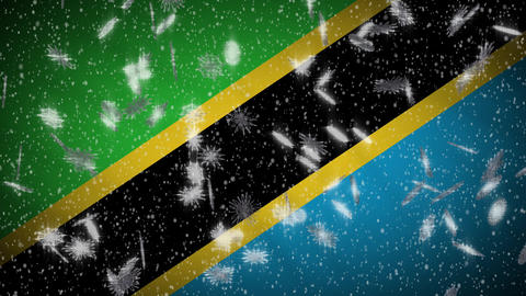 Tanzania flag falling snow loopable, New Year and Christmas background, loop Animation