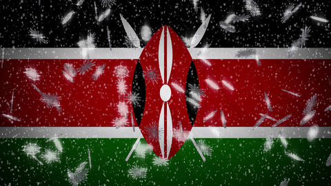Kenya flag falling snow loopable, New Year and Christmas background, loop Animation