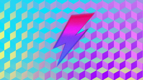 Sale screen with lightning bolts and moving colourful background Animation