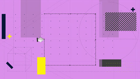 Software tools cutting a removing a section of pink grid background Animation