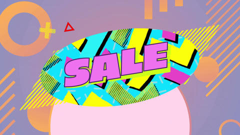 Sale graphic with moving elements on lilac background Animation