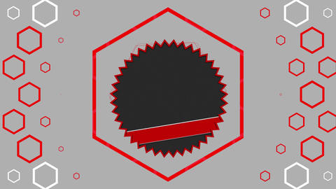 Sawtoothed circles and red hexagons moving on grey background Animation