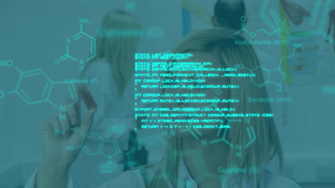 Female scientist working and blue text and data Animation