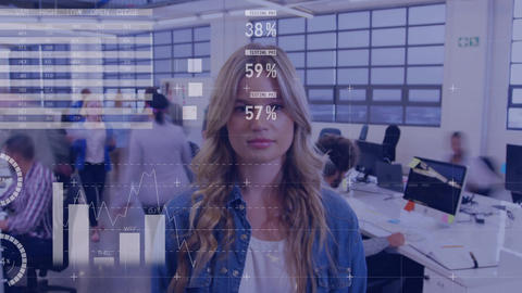Woman standing in a busy office 4k Animation