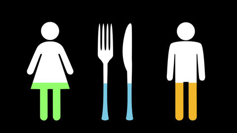 Male and female and knife with fork filling up with colours 4k Animation