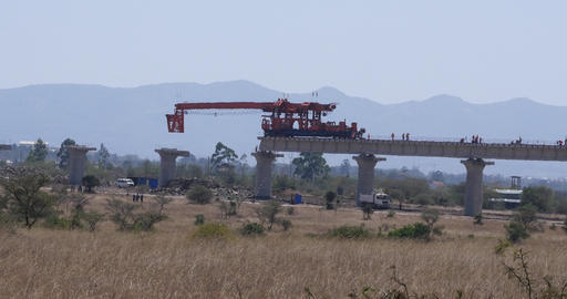 construction of the high speed train line in Kenya Nairobi Park, Real Time 4K Live Action