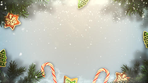 Animated closeup Christmas green tree branches and toys on snow background Animation