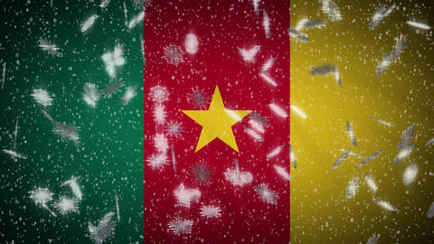 Cameroon flag falling snow loopable, New Year and Christmas background, loop Animation