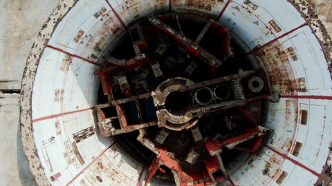 AERIAL SHOT View from above A nuclear reactor room in the destroyed Soviet power Live Action