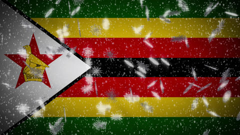 Zimbabwe flag falling snow loopable, New Year and Christmas background, loop Animation