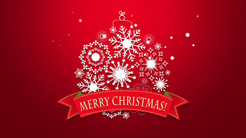 Animated close up Merry Christmas text, white snowflakes on red background Animation