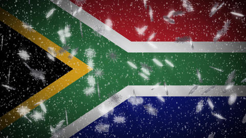 South Africa flag falling snow loopable, New Year and Christmas background, loop Animation