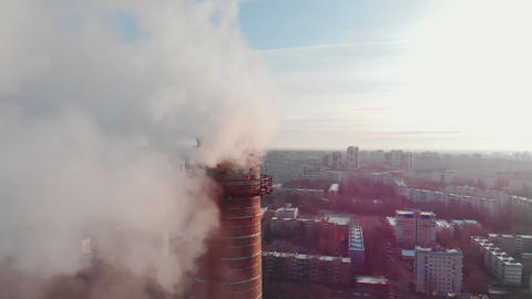 Air pollution problem - a big industrial pipe pollutes the air Live Action