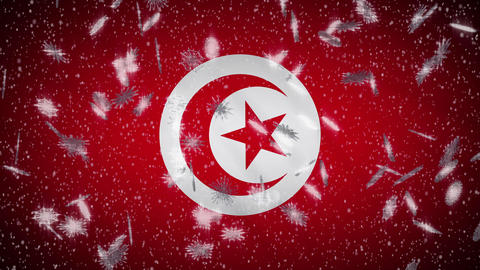 Tunisia flag falling snow loopable, New Year and Christmas background, loop Animation
