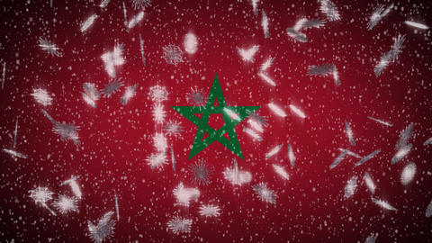 Morocco flag falling snow loopable, New Year and Christmas background, loop Animation