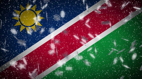 Namibia flag falling snow loopable, New Year and Christmas background, loop Animation