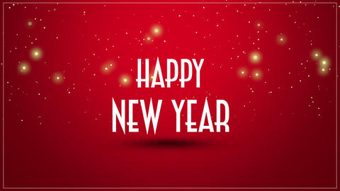 Animated closeup Happy New Year text on red background Animation