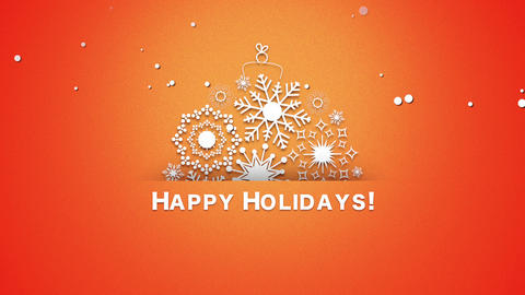 Animated closeup Happy Holidays text, white snowflakes on red background Animation