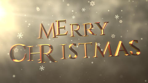 Gold abstract bokeh particles falling and animated closeup Merry Christmas text on shiny background Animation