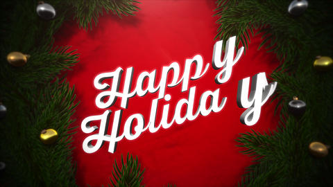 Animated close up Happy Holidays text, colorful garland and green tree branches on wood background Animation