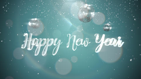 Animated closeup Happy New Year text, silver balls on shine background Animation