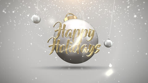 Animated closeup Happy Holidays text, motion balls and snowflakes on white background Animation
