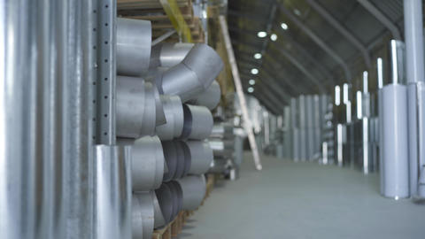 Ready production warehouse, freight terminal of steel products. Steel industry Live Action