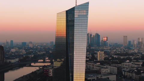 Aerial Frankfurt ECB Early Sunrise
