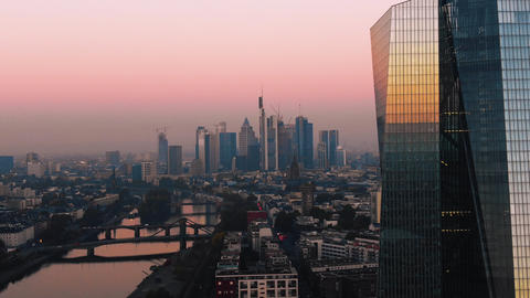 Aerial Frankfurt ECB Early Sunrise 0