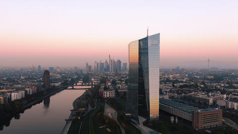 Aerial Frankfurt ECB Early Sunrise 1