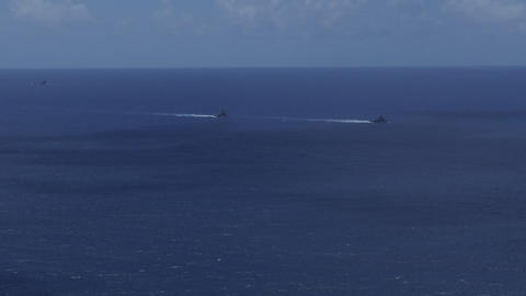 US Navy Tugboats In The Sea Of Okinawa Japan Asia Live Action