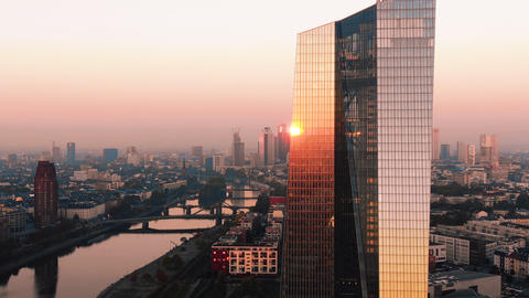 Aerial Frankfurt ECB Early Sunrise 2