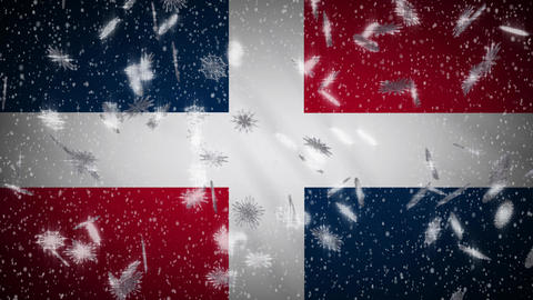 Dominican flag falling snow loopable, New Year and Christmas background, loop Animation