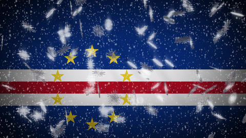 Cape Verde flag falling snow loopable, New Year and Christmas background, loop Animation